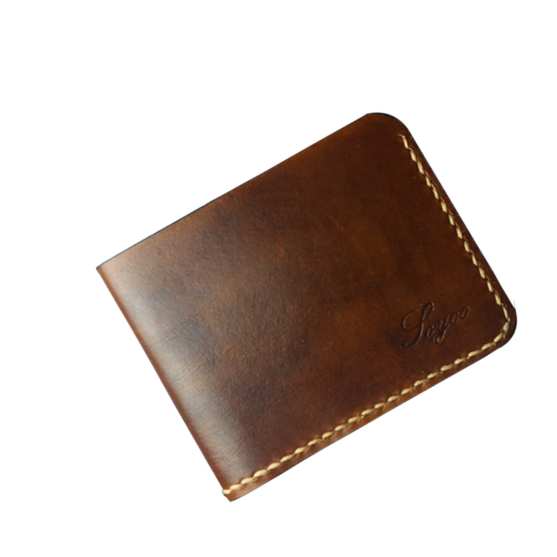 Handmade Men Genuine Leather Wallet Luxury Vintage Small Wallet for Men Top Cow Leather Card Money Holder Change Purse<br>