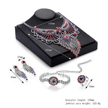 Cindiry Red Crystal Jewelry Wedding Women Rhinestones Bridal Party Accessories Necklace Beads Jewerly Sets  T20