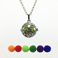 1PC Dark Silver Hollow Tree Of Life Copper Mexican Bola Open Locket Essential Oil Aroma Perfume Diffuser Pendant Necklace Gifts