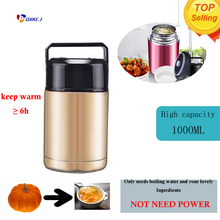 1000ML thermos bottle vacuum cooking pot water bottle water vacuum cup insulated cup travel mug swell kettle(China)