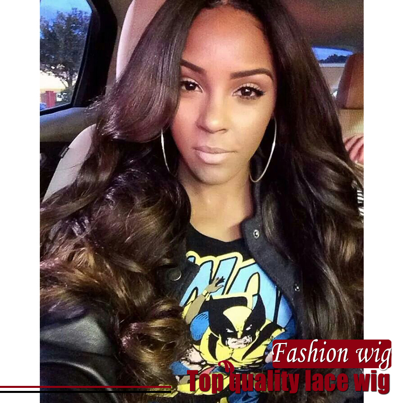 Synthetic Full Lace Front Wig/ black / dark brown color wigs with Bangs Heat Resistant Glueless lace Wigs for black women<br><br>Aliexpress
