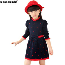 WEONEWORLD 2017 New Kids Sweater Dress Spring Autumn Winter Girls Long Warm Fashion Princess Dress Bow Toddler Girls Clothes