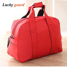 High-quality Hangbags Shoulder Female Contrast  Waterproof Folding Oxford Luggage Bag Short-distance Travel Package Bag Z614