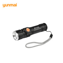 USB Inside Battery 2300 Lumen XML T6 Powerful LED Flashlight Rechargeable Torch Flash Light LED Zoom Lamp For Hunting Black(China)