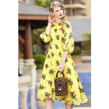 summer 2017 women clothing black flower print yellow long dress round neck 3/4 sleeve a-line mid calf dresses casual dresses(China)