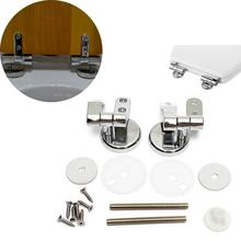Universal Adjustable Pair of Replacement Chrome Toilet Seat Hinge Set Pair With Fittings for Different Size Seats(China)