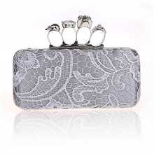 New Women Ring Bag high quality Skeleton Skull Finger Clutch Purse Evening Handbags female Wallets WY19