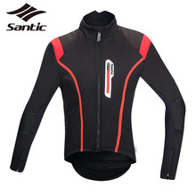 Buy Santic Cycling Jacket Men High Collar Windproof Bicycle Bike Jacket Cycling Winter Thermal Fleece Long Sleeve Jacket Jersey for $107.54 in AliExpress store