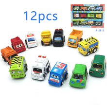 TWINKLECAT 12Pcs /Set Toy Vehicles Pull Back Cart Little Cars Toy Children Gift Mini Cars Model Action Figures Toys Play Mat(China)