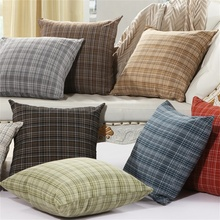 England British Style Plaid Checked Linen Decorative Pillow Covering Throw Sofa Seat Car Cushion Cover Blue Red Brown Gray Green