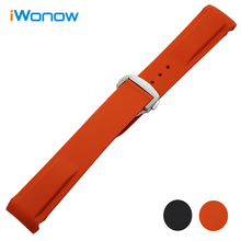 Curved End Silicone Rubber Watchband 20mm 22mm for Omega Ocean Seamaster 232 007 Speedmaster Watch Band Butterfly Buckle Strap