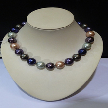Boutique fashion lady 16MM color pearl necklace(China)