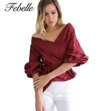 Febelle Women Cross V Neck Puff Sleeve White Blouse Shirt Casual Off Shoulder Solid Top Female Bow Tie Bandage Blusas #230521