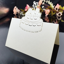 120PC/lot White Laser Cut Birthday Cake Party Table Name Place Cards Birthday Show Casamento Souvenirs Wedding Invitations Decor