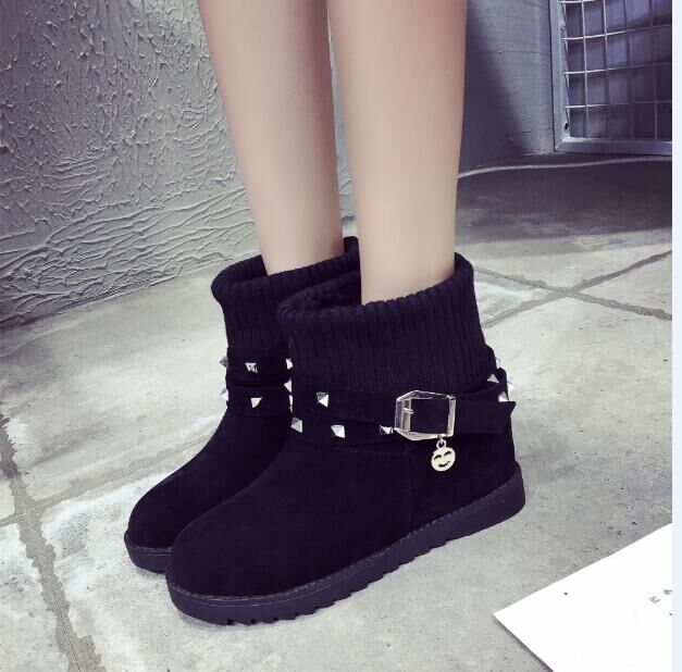 Female increased winter han edition platform within short boots short cone yarn cone flat belt buckle boots<br><br>Aliexpress