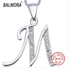 Letter M 100% Real Pure 925 Sterling Silver Pendants for Women Men Accessories Gifts Fashion Silver Pendant Fits for Necklace