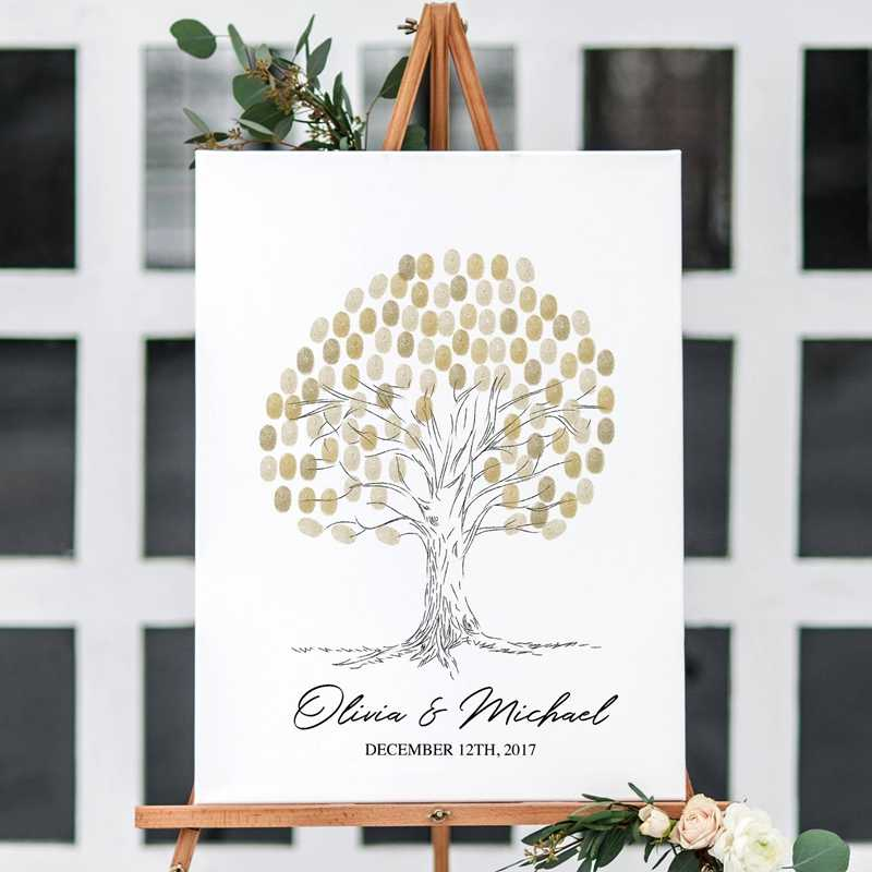 High Quality Personalized Wedding Fingerprint Guest Book Canvas Art Prints , Fingerprint Tree Custom Wedding Celebration Decor