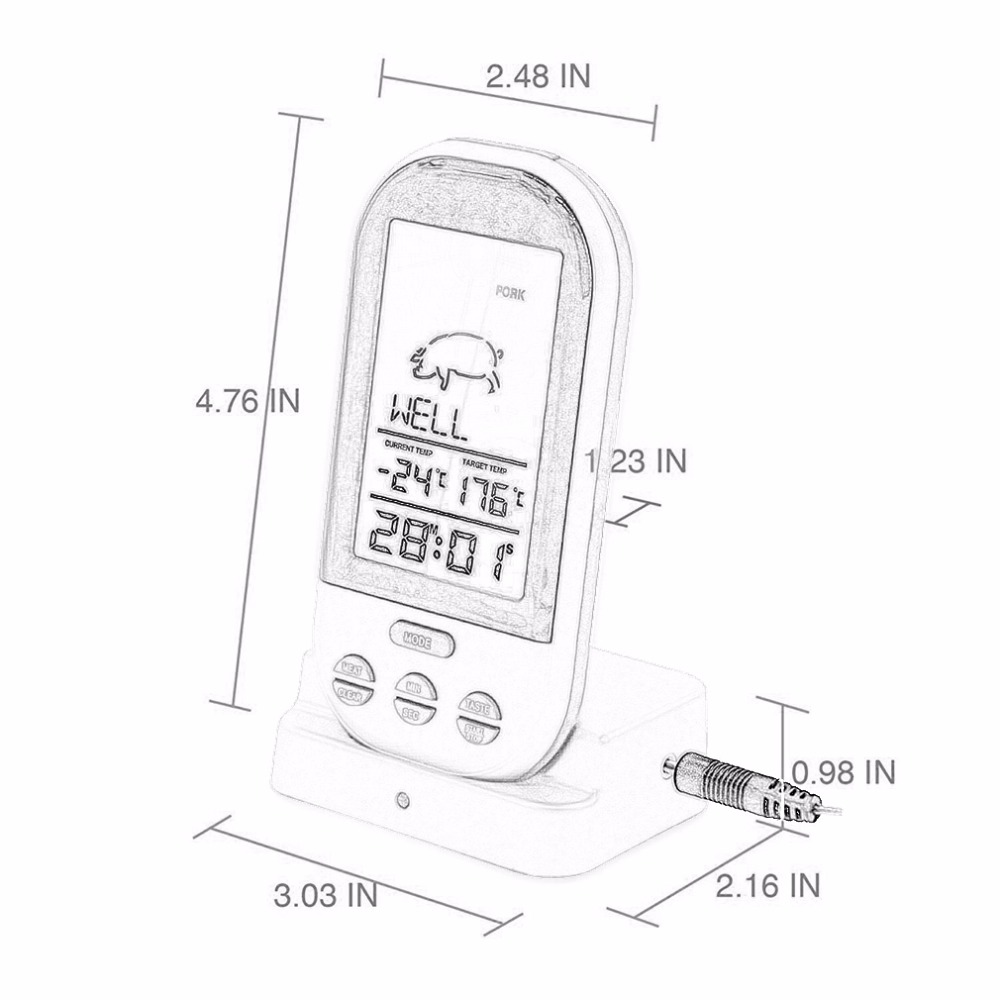 Hot Sale Black Wireless Digital Lcd Display Bbq Thermometer Kitchen Wiring Diagram Meyer 36244 Barbecue Probe Meat Temperature Tool Us113