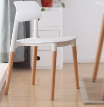 Plastic and wood dining chair modern classic design minimalist leisure chair