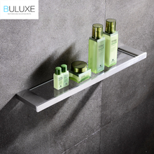 BULUXE European Single Tier Glass Bathroom Shelf Wall Mounted Brushed Stainless Steel Tempered Glass Bathroom Accessories IFG720(China)