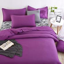 New polyester purple solid color bedding set twin full queen king size bedclothes,duvet cover bed sheet pillowcases korean style