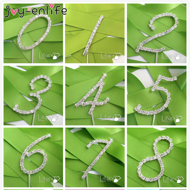 JOY-ENLIFE 1pcs Sparkling Crystal Rhinestone Number Cake Topper Wedding Marriage Anniversary Party Birthday Decor(China)