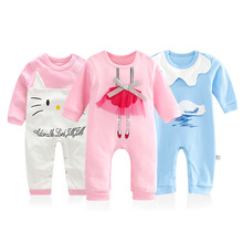 Baby Girl Clothes 2017 New Newborn Clothes Baby Cotton Girls Romper Long-sleeve Baby Product  Baby Lace Cartoon Swan Rompers
