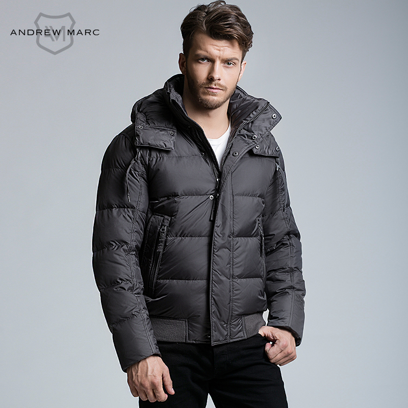 ANDREW MARC MNY 2016 Men Down Parkas Thick Warmth Feather Winter Coat Black Navy Blue Olive Green Grey S-XXL TM6UD212(China (Mainland))