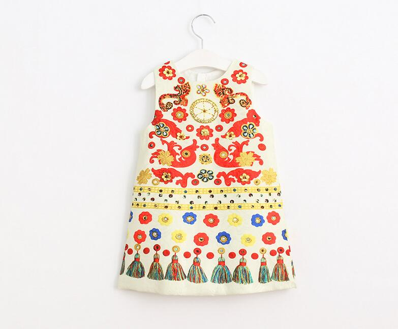 Toddler Girls Princess Tassel Dress Pattern Flower Print Spring Autumn Kids Baby Sleeveless Clothes Children Clothing 6pcs/LOT