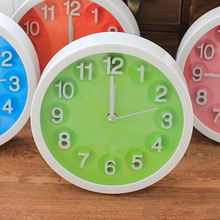 Candy color round alarm clock Round Modern Home Bedroom Time Kitchen Wall Clock home decoration