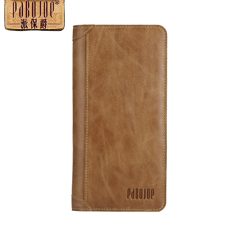 Pabojoe brand Mens Bifold Wallet Italian 100% Pure Genuine Leather Organizer Checkbook Card Case 2017 new free shipping<br>