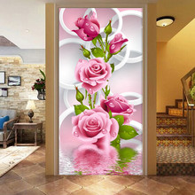 5D Diy Diamond Painting Cross Stitch Diamond Mosaic Pink Rose Diamond Embroidery Flower Vertical Print round Drill Home Decor