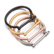 Louleur 2017 New Stainless Steel Screw Horseshoe Bracelet Men Rose Gold Color Screw Nail Bracelets Bangles Male Cuff Bracelet