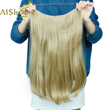 AISI BEAUTY Long Synthetic Hair Heat Resistant Hairpiece Fish Line Straight Hair Extensions Secret Invisible Hairpieces(China)