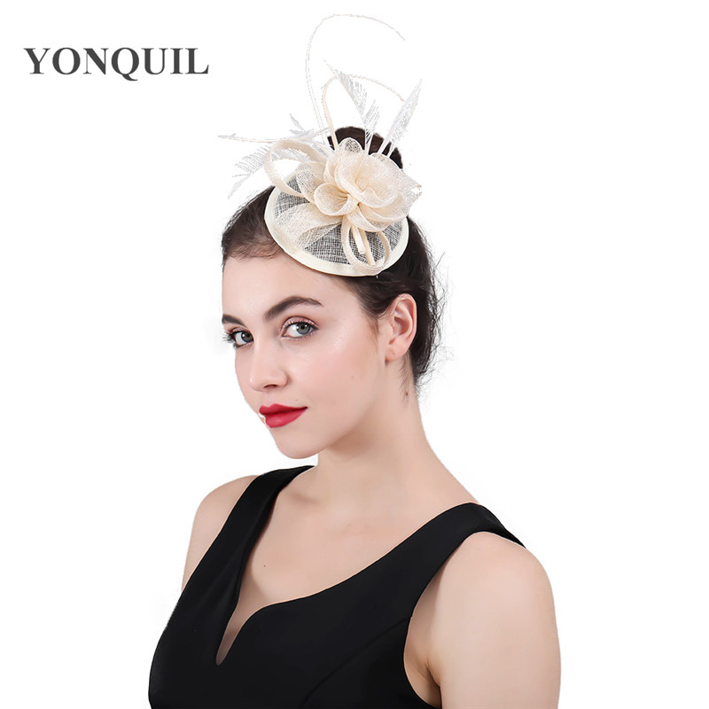 Vintage Female Fascinator Hair Accessories hair Bands Sinamay Pillbox derby Ascot Party Hats women Charmig feather fascinators