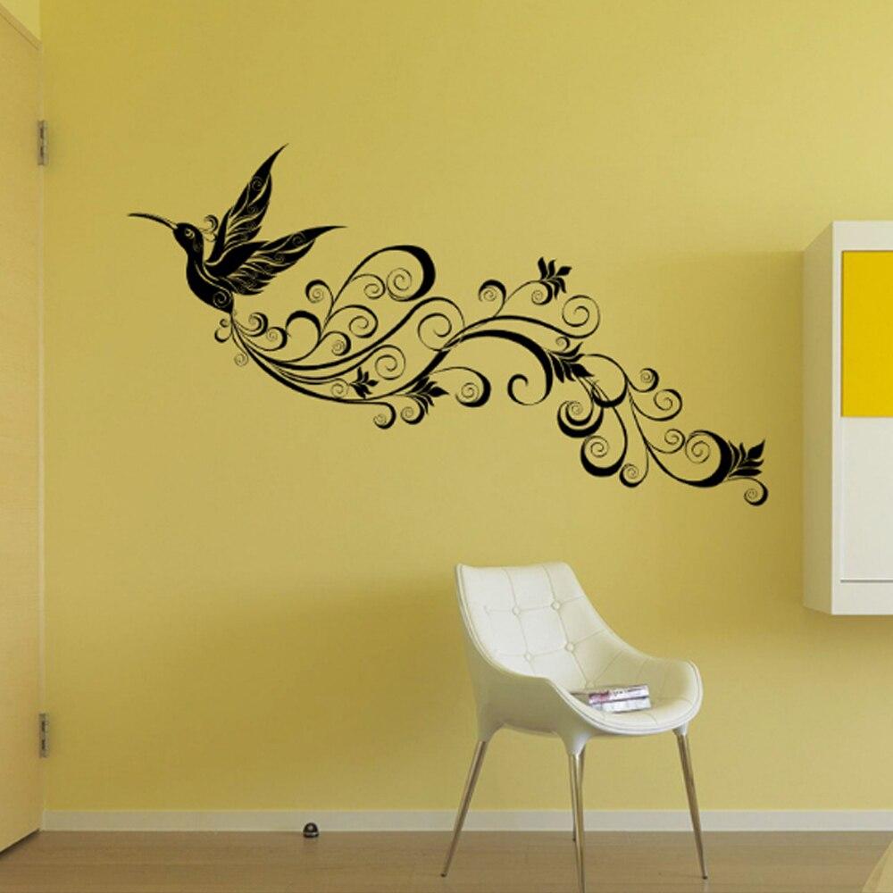 Flying Bird Long Feather Tail Wall Sticker Home Decal Art Murals ...