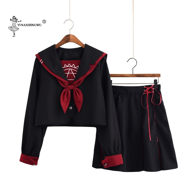 Girls Japanese School Uniforms Lady Female Group Sailor Suit Lady Team Dance Performance Halloween Costumes 2-piece Set With Tie