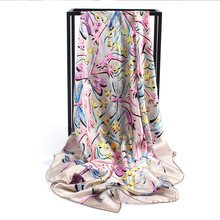 2017 New Brand Scarf Women 100% Mulberry Silk Female Summer Sunscreen Flying Dragonfly gilt crepe satin silk towel Fashion Scarf(China)