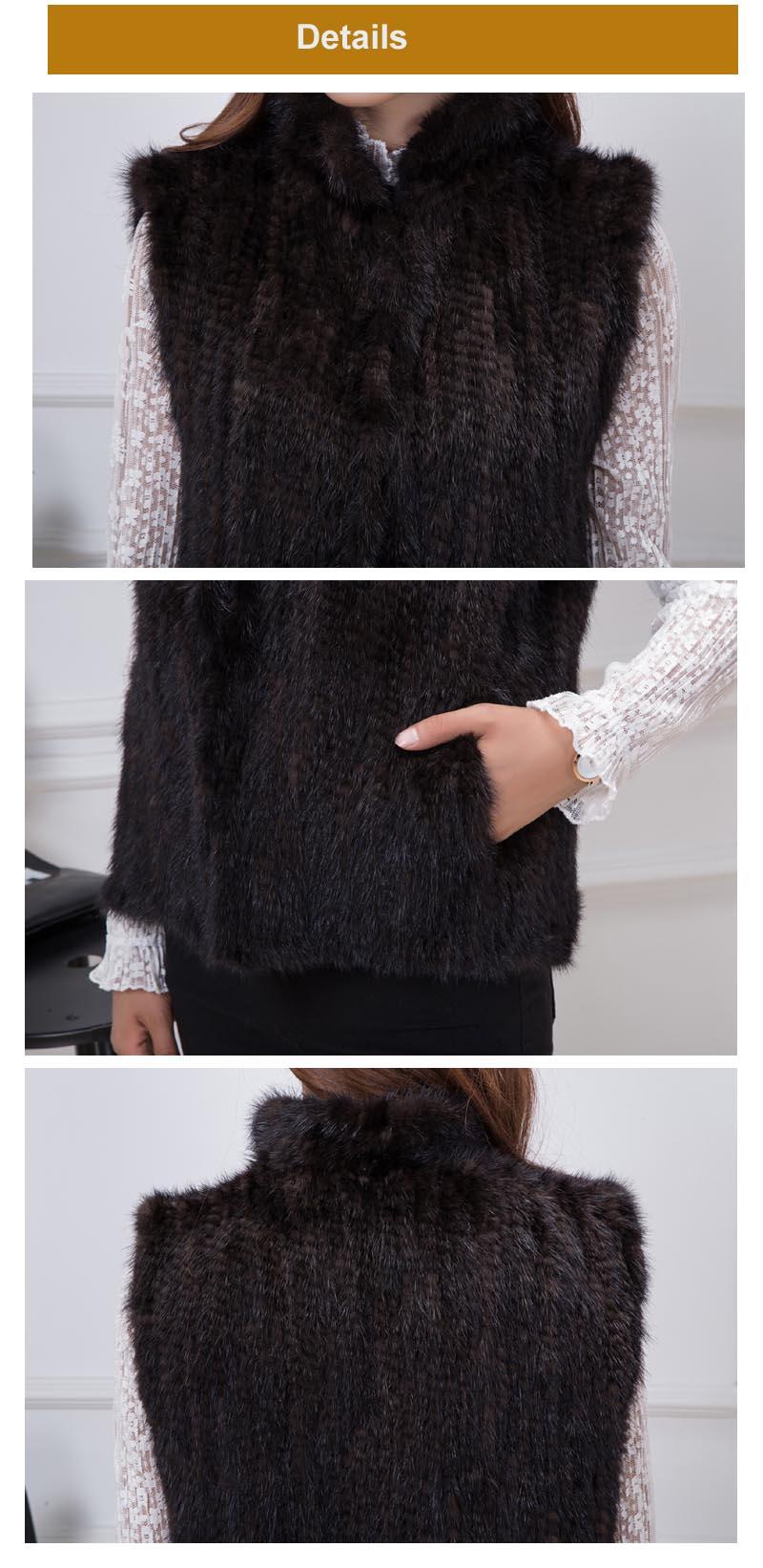 mink fur vest details