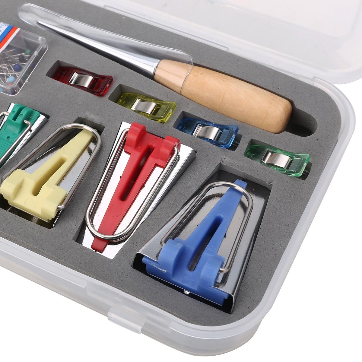 60pcs Fabric Bias Binding Tape Maker Kit Binder Foot Wooden Awl Clips Pins Household DIY Sewing Quilting Tool Set