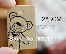 500PCS Mini Cute Bear Vintage Kraft Paper Tags Garment Tags Jewelry and Gift Hang Tags Shoes Bags Swing Craft Tags and Labels