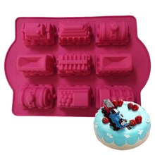 1PCS 9 Hole Non-Stick Thomas Train Shape Mixed Cake Mold DIY Cupcake, Jelly, Chocolate, Candy Bakeware Decorating Pastry Tools
