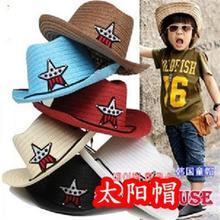 10pcs/lot Free shipping Cheap Child Baby Cowboy Hat Summer Sunbonnet Five-pointed Star Sun Hat Fedoras Straw Hat 10 COLORS