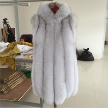 Russian Style Winter Fur Hooded Coat Vertical Stripe Full Pell Natural Real Fox Fur Long Vests Of Women(China)
