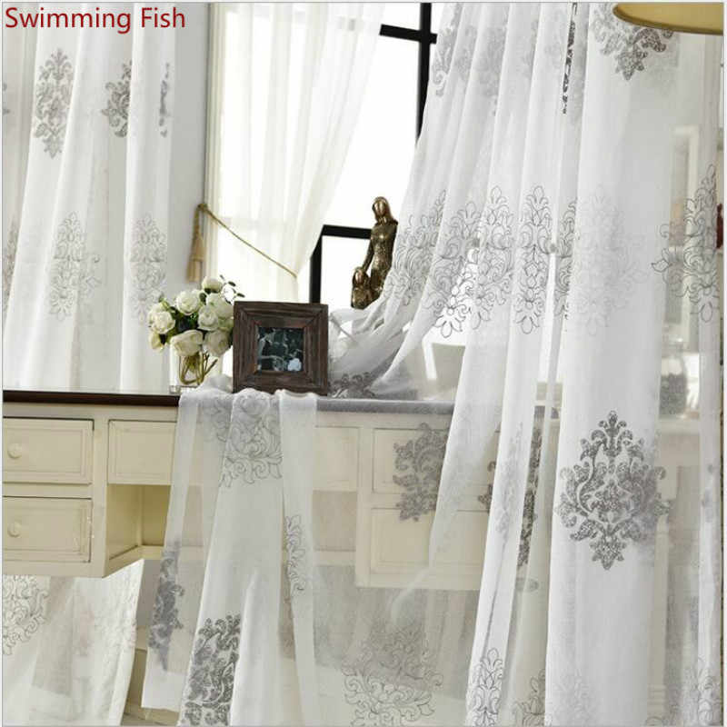 White grey Embroidered Gauze Sheer Kitchen Voile Organza Curtains Doors For Bedroom Study Curtain Living Room Tulle Drapes 1pc