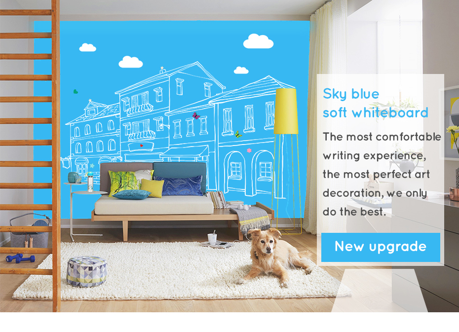 930_01 Dry Erase Ferrous whiteboard Waterproof Kitchen Wall stickers Hold Magnets Home Wall Room Decor Blue Color 80 x 50 cm x 0.6 mm