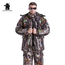 MULTICAM Uniform Winter Jungle Bionic Camouflage Tactical Suit Thicken Plus Size Sniper Suit Hunting Waterproof L~4XL DB21F27(China)