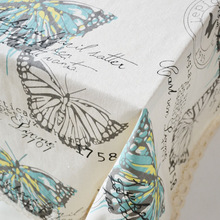 Hand Painted Butterfly Tablecloth Cotton Linen Dinner Table Cloth Insect Macrame Decoration Lacy Table Cover Pastoral Washable