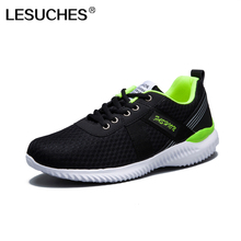 LESUCHES Sneakers for Men Track & Field Sport Shoes Autumn Black Grey Breathable Light Athletic Zapatillas Running Shoes RnA35(China)