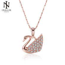INALIS Swan Necklaces Rose Gold Color  Gold Color Fashion Pendant Jewelry Cubic Zirconia Crystal Wholesale